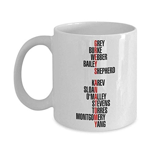 Grey's Anatomy Characters - Trinkets & Novelty - Grey's Anatomy Merchandise. This 11-oz Series Inspired Grey Yang Karev O'Malley Stevens Intern Surgeon Coffee Cocoa Mug Cup is for Fan