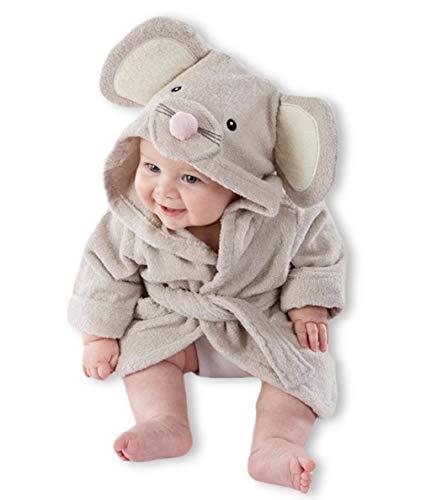 Carolilly - Albornoz para bebé, con capucha, suave felpa de franela, forro polar con capucha (1-6 años) Ratón 1-2 Años