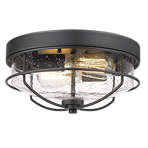 Flush Mount Ceiling Light Fixtures, HWH 12 inch 2-Light Farmhouse Close to Ceiling Light Fixture with Seeded Glass Shade, Sand Black Finish, 5HTJ7-F BK