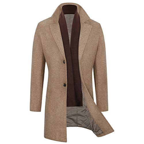 WULFUL Men's Slim Fit Winter Wool Coat Long Trench Coat Business Jacket (Coffee, Medium)