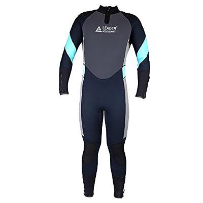 Leader Accessories Men's 5mm Black/Aqua Blue/Gray Wetsuit for Scuba Diving Fullsuit Jumpsuit