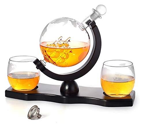 KEKEYANG Whisky Decanter Set - Etched World Globe con la Navigazione in Vetro Realizzato in Vela, pinze di Ghiaccio, Pietre di Whisky, Decorazione di liquore Bar a casa, 1000 ml Decanter