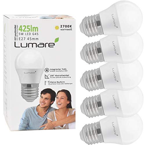 Lumare E27 LED Lampe 5W ersetzt 40 Watt warmweiß 5er-Pack G45 Glühbirne 425 Lumen Energiesparlampe 200° LED Birne 5 Watt Leuchtmittel Glühbirne 2700K warmweiss