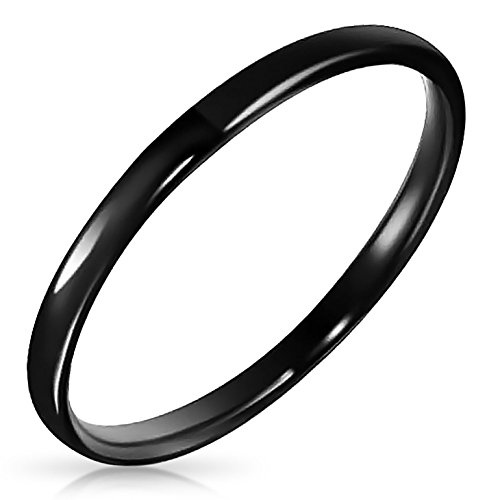 Bling Jewelry Personalisierte Schmal Stapelbar Minimalistisch Einfache Schwarz Paare Hochzeit Band Tungsten Ringe 2MM Custom Graviert