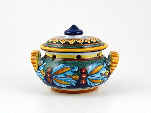 Hand Painted Italian Ceramic Garlic Jar Geometrico 39E - Handmade in Deruta