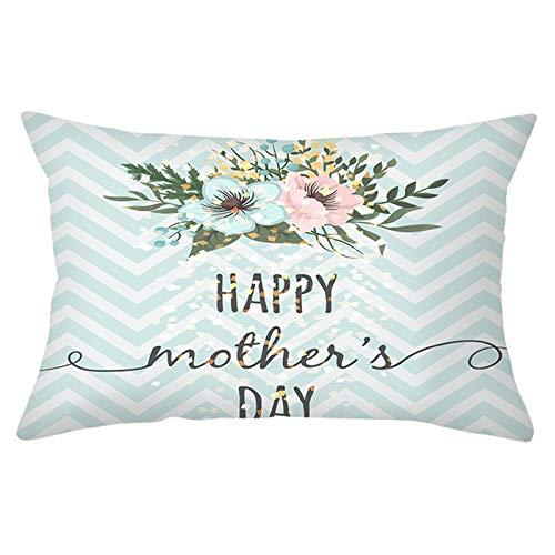 KnBoB Funda Cojin Poliéster Azul Blanco Rosa 30 x 50 cm Happy Mother's Day con Geometría Floret Estilo 28