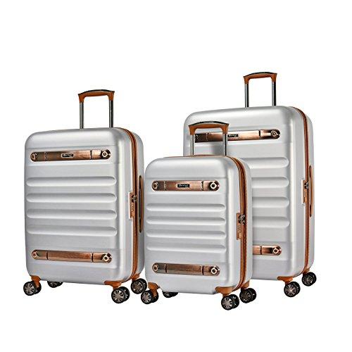 Eminent Set di valigie Gold Nostalgia 3pcs Doppie ruote silenziose in policarbonato con guscio rigido 4 Lucchetto TSA Argento