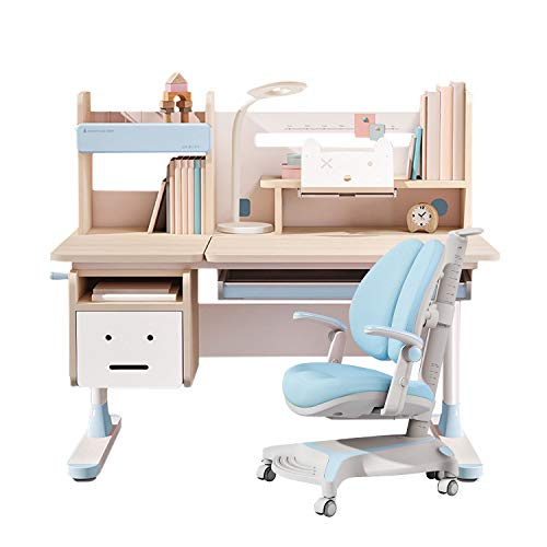 Ergonomic Multi Function Wood Adjustable Kids Study Desk Drafting Table and Computer Station with Book Shelf and Hutch with Chair (Wood Desk with Chair, Blue)