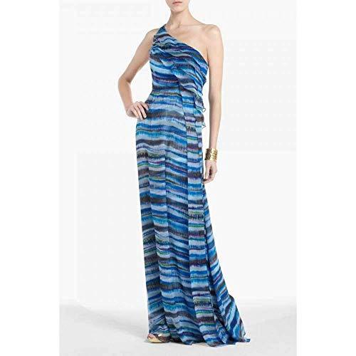 BCBGMAXAZRIA Stella One Shoulder Dreamy Print Silk Dress (2) Blue
