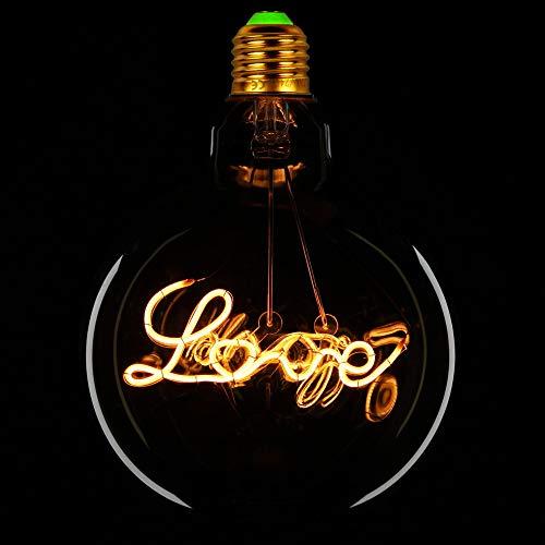 TIANFAN Bombillas LED Vintage Big Globe G125 4W 220/240V Alfabetos Especialidad Bombilla decorativa Super Amarillo Cálido (Love)