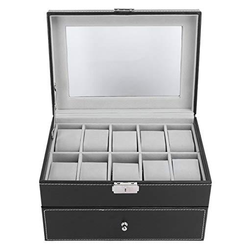 Caja de almacenamiento de reloj, caja de reloj de 20 rejillas, madera negra de doble capa + cuero de PU para la tienda de relojes para el hogar