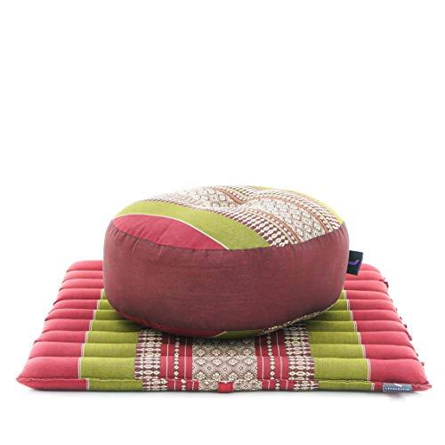 LEEWADEE Mini Set da Meditazione: Piccolo Cuscino Zafu e Tappetino Zabuton, Kit Tailandese per meditare Ecologico in kapok, Rosso Verde