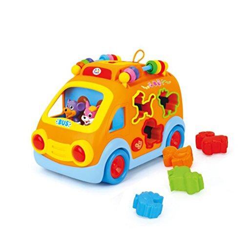 Toyvian Elektroauto mit Musik und Lichter Musical Schulbus Spielzeug Pädagogisches Spielzeug für Baby Kleinkinder Kinder