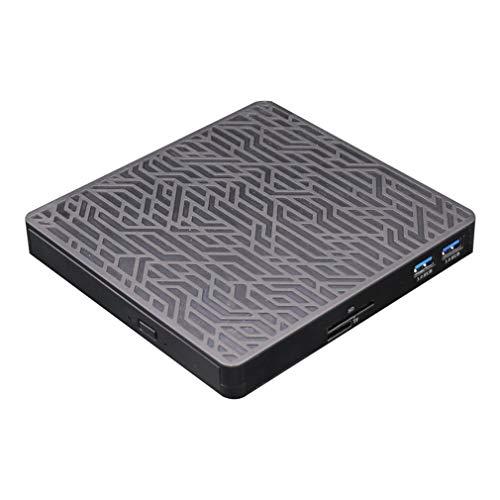 RHNE USB 3.0 Externo Móvil DVD/CD Unidad multifunción Unidad de CD Lector Grabador Unidad multifunción DVD/CD Negro