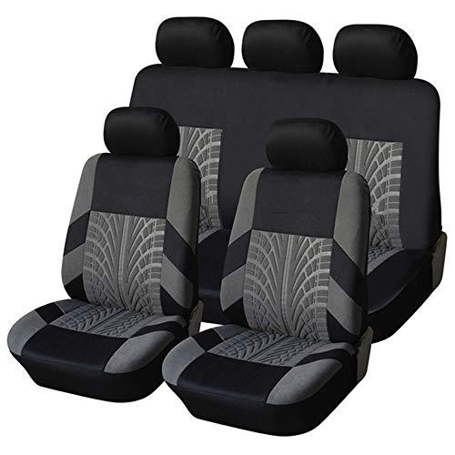 KKmoon Sitzbezüge Auto Set Universal Autositzbezüge Schonbezüge Grau Vordersitze und Rücksitze für alle Autos 11Stücke