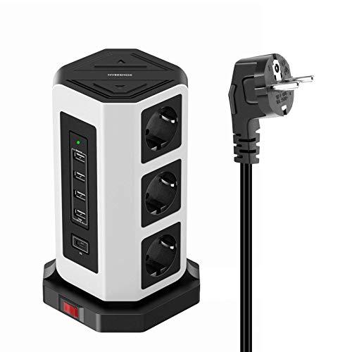 NVEESHOX Ciabatta Multipresa Verticale 9 Prese con 4 Slot USB A +1 USB C 2M Cavo Protezione,Torretta Ciabatta Multipresa da Scrivania Elettrica con Protezione da Sovraccorrente (Bianco nero)