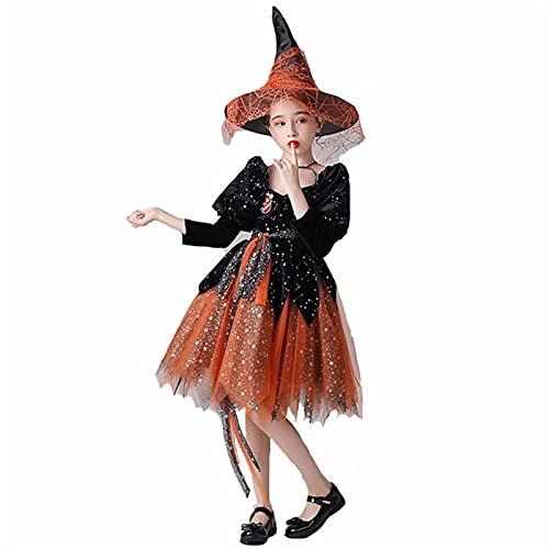 YUHUA-SHOP1983 Chicas Vestido de Fiesta de Halloween Star Moon Traje de Bruja, Cuento de Cuentos de Cuentos de Cuentos de Cuentos Traje de Cosplay (Color : Orange, Size : 12-13T)
