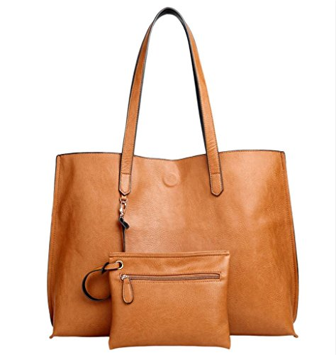 Women's Big Capacity Handbag, Soft Faux Leather Tote Shoulder Bag Reversible Versatile With Coin Purse