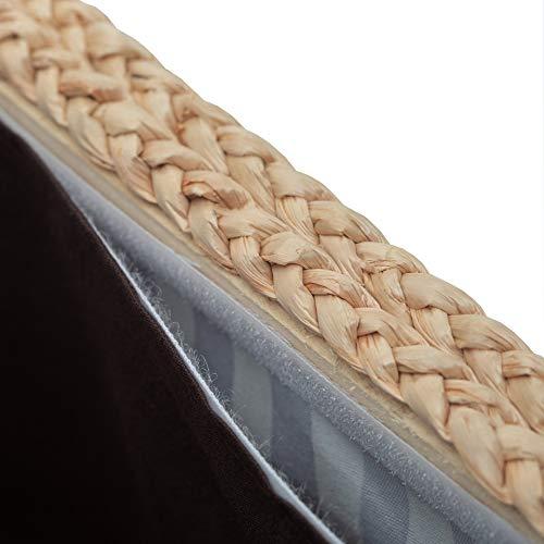 Büloo Bettbank Schlafzimmerbank Flurbank Schuhbank Sitzbank mit Aufbewahrung AufbewahrungshockerFaltbarer Aufbewahrungsbox aus natürlicher Wasserhyazinthe,mit Füße (112x40x40 Grau) - 4