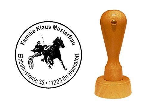 Sello sellos de madera diseño sello « Sulky Caballos Carreras » con Personal–de direcciones trab Racing Caballos Sport Evolución antiadherente Mode Fight