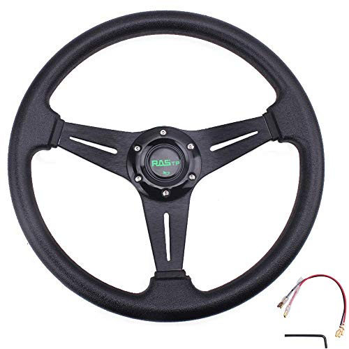 """RASTP Universal Racing Steering Wheel 13.8""""/350mm 6 Bolts Grip Vinyl Leather & Aluminum with Horn..."""