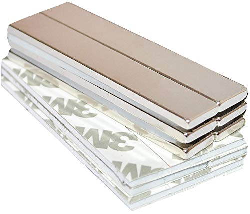 Strong Magnets Rare Earth Neodymium: Bar Super Permanent Metal Rectangular Adhesive, 60x10x3mm, Powerful Pull Force, 6 Piece| Heavy Duty, Fridge Door, Garage, Kitchen, Science, Craft, Art, Office, DIY