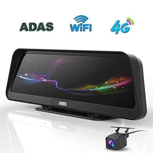 SZKJ E98 10 Zoll Touch IPS Streaming 4G ADAS Dashboard Auto DVR Dash Cam Rückspiegel mit Android Auto Kamera Dual Car Camera with GPS DVR WiFi Car Camera Full HD Registrator