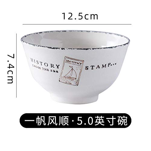 WHWH modernes Geschirr,Rice Bowl Household Ceramic Bowl 5 inch small Soup Bowl Single Porcelain Bowl Chinese Rice Bowl to eat-5 inches Smooth Sailing