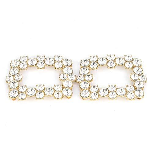 BORDSTRACT Decoración de Hebilla de Zapatos de Cristal, joyería de Mujer Clips Decorativos para Zapatos Decoraciones de Diamantes de imitación Encantos Hebilla Cuadrada Accesorios de Boda(1)