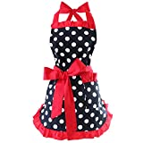 Retro 50's Style Cotton Apron Polka Dot Ruffle Vintage Cooking Kitchen Lovely Apron with Pockets for Women Girls