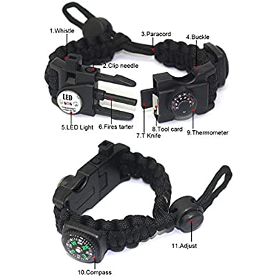 Paracord Survival Bracelet Kit Adjustable with Flint fire starter Compass Thermometer LED light Umbrella rope Card reader Multi-tool for Hiking Camping Outdoor Activities Whistle