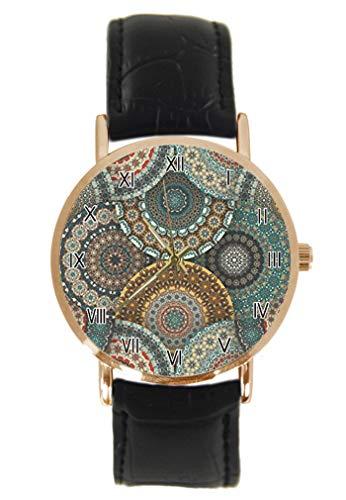 Grunge Mandala Lotus - Reloj de Pulsera con diseño de círculos Florales, clásico, Unisex, analógico, de Cuarzo, Acero Inoxidable, Correa de Cuero