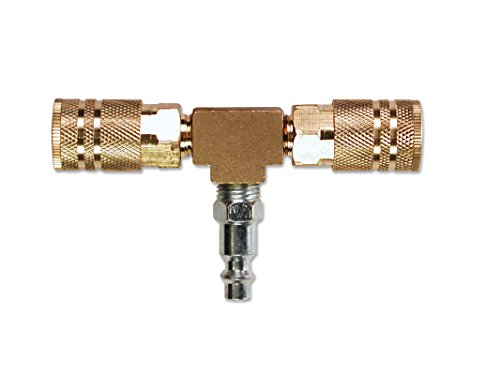 Primefit M1404-4 2-Way T-Style Air Manifold with Industrial 6-Ball Brass Couplers, 1/4'