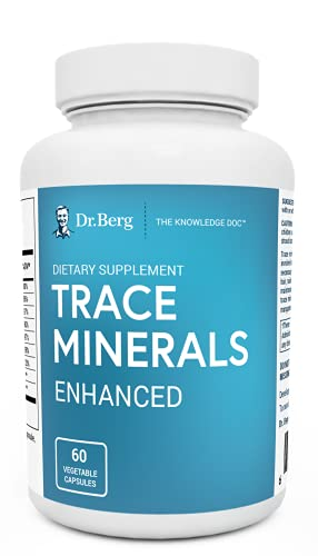 Dr. Berg's Trace Minerals Enhanced Complex - Complete with 70+ Nutrient-Dense Health Mineral - 100% Natural Ingredients - Dietary Supplements - 60 Capsules