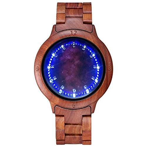 GIPOTIL Reloj de Madera Colorido para Hombre Pantalla LED única Pantalla táctil Ligera Reloj para Hombre Reloj para Mujer Relojes de Pulsera de Moda con visión Nocturna, Madera roja