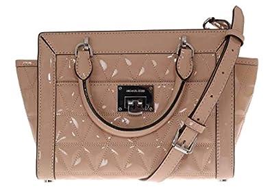 Michael Kors Vivianne Small Top Zip Patent Leather Messenger Bag Handbag in Oyster