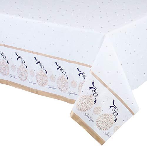 DiiDa Einweg Tischdecke für Weihnachtsfeier 4er Pack 137cm * 274cm Weihnachten Muster Rechteck Kunststoff Party Tischdecke Abdeckungen (Weihnachtskugel)