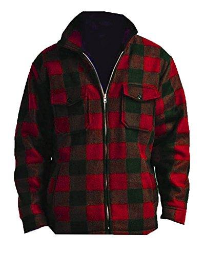 Woodland Supply Co. Men's Heavy Warm Fleece Lined Zip Up Buffalo Plaid Jacket,X-Large,Red