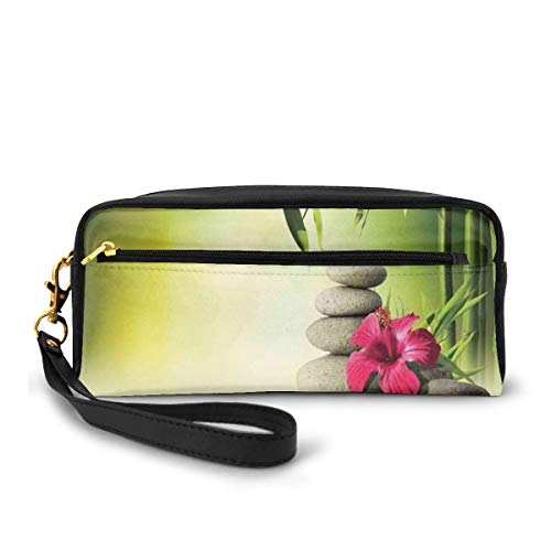 Pencil Case Pen Bag Pouch Stationary,Stones and Bamboo Leaves on The Water Pool Meditation Freshness Relaxing Theme,Small Makeup Bag Coin Purse