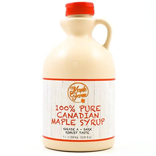 MapleFarm - Pur Sirop d'érable Catégorie A, Foncé - goût robuste - 1 litres (1,32 Kg) - Original maple syrup - Grade A - Dark, robust taste - Sirop d'érable pur - Pancake sirop