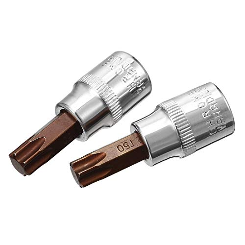 3/8'Drive x T50 Star socket Bit Socket, S2 Steel Bits, CR-V Sockets 2' Longitud (solo para uso manual) 2 piezas
