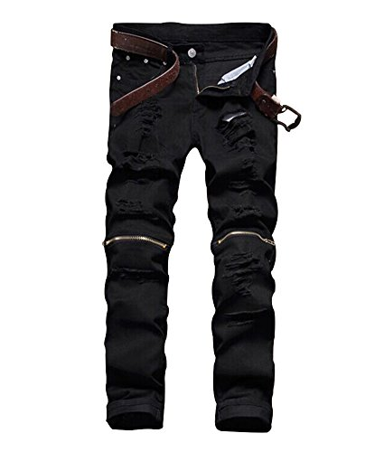 Men's Slim Fit Pencil Pants Vintage Zipper Denim Distressed Stretch Ripped Jeans (32, Black)