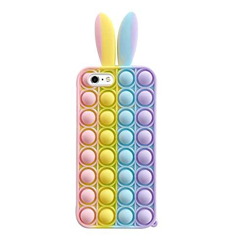 Fidget Toys Custodia per iPhone 6 7 8, Stress Relief Bubble Custodia Morbida Silicone Antistress Cassa del Telefono Giocattoli Sensoriali Fidget Antiurto TPU Bumper Phone Cover per iPhone 6 7 8