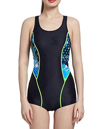 Bañador Bikinis Beachwear Traje De Entrenamiento De Baño De Playa Natación Bañador Deportive Atlético Una Pieza para Mujer Negro L