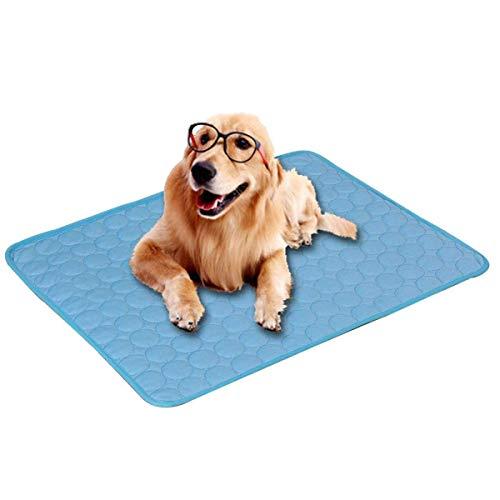 Shmtfa El Verano Alfombrillas para Perros,Cool Fabric Alfombra para Perros,Funcional Camas Mascotas,Lavables Fácil De Limpiar para Interior Y Exterior Pet Relaxed (100×70cm,Azul)
