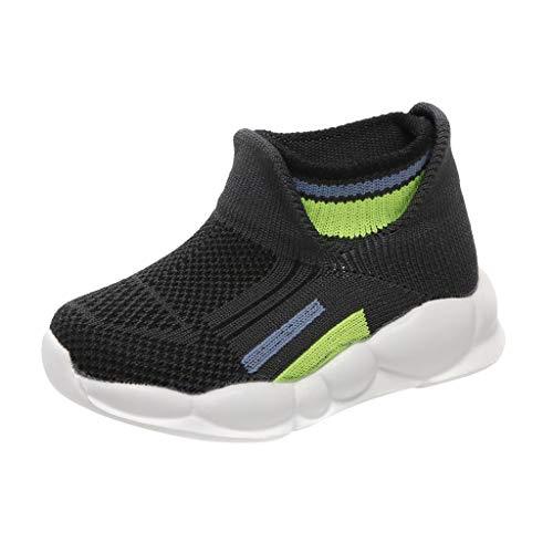 HDUFGJ Turnschuhe Kinder Fliegendes Mesh Weben Dehnen Socken Schuhe Laufschuhe für Mädchen Jungen Leichtgewicht Faule Luftkissen Segelschuhe Outdoor fitnessschuhe26 EU(Grün)