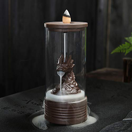 wangstar Backflow Incense Burner with Cones Waterfall Incense Burner Dragon Incense Cones Sticks Holder Ceramic Exquisite Figurine Home Decor Gift Decorations Statue(Cover Up Dragon)