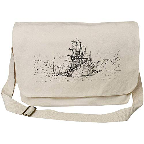 Azeeda 'Naval Scene' Cotton Canvas Messenger Bag (MS00001721)