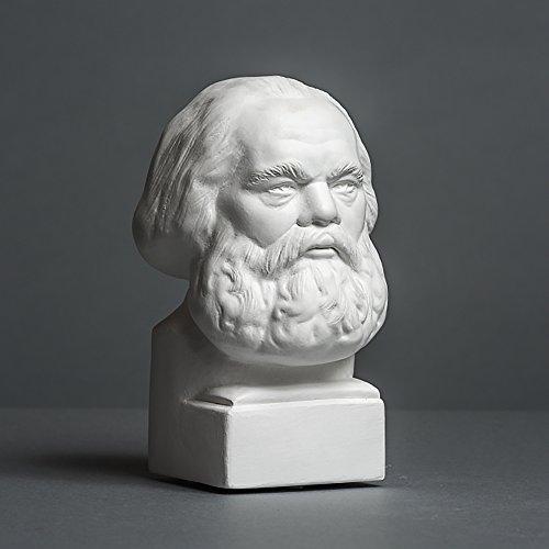 Karl Marx Skulptur aus hochwertigem Zellan, echte Handarbeit Made in Germany, Büste in weiß, 14cm