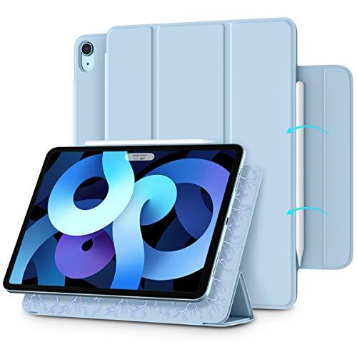 """Vobafe Cover Magnetica Compatibile con iPad Air 4 Generazione 2020 10.9""""/iPad PRO 11"""" 2018, Custodia Magnetica a Supporto Pieghevole e Patta, Ricarica di iPencil, Auto Sveglia/Sonno-Azzurro"""